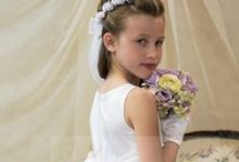 First Communion Lace Dress Style 6800 / Sleeveless first holy communion dress with  Soft satin bodice and cumberbun with gorgeous lace skirt. Large satin bow in back. Fully lined. Long length.  http://www.firstcommunions.com/firstcommuniondresses-6800.aspx