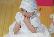 Girls Taffeta Christening Dress / Charming  white christening gown with gathered rosette skirt and organza layered bodice. Includes matching bonnet. Fabricated of 100% polyester taffeta. . Made in the USA. Christian Expressions stocks this item (while supplies last) in sizes shown on our website.  http://www.christian-baby.com/