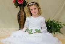 Long Sleeve Satin and Organza Beaded First Communion Gown / Satin and organza first communion dress with lace details throughout and long sleeves. Lined. Long length only.