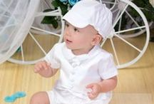 Boys Christening Romper with Hat and Vest / Poly cotton christening romper set with vest. Includes bonnet. Made in the USA http://www.christian-baby.com/