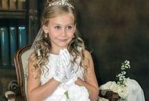 Tulle and Embroidered First Communion Dress / This girls first communion dress features embroidered tulle with detachable ribbon sash and flower Detachable sash and flower.  It is tea length and fully lined. Made in USA. New for first communion season 2017