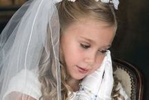 First Communion Wreath Veil with Organza Bugle Beads