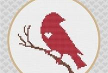 cross stitch : birds and chickens