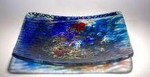 Platters & Bowls / Fused glass platter & bowls