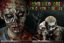 Zombie Contact Lenses / A zombie is no zombie without a lifeless gaze in its eye to mirror its soulless & decrepit body.  This board features a variety of brands, colors & style zombie special effects contacts.