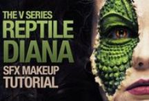 Reptilian Makeup & FX Contacts / Reptilian special effects makeup ideas paired with FX contact lenses