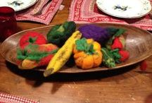 Frutta e verdura di lana, fruits and vegetables in carded wool
