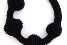 Eleanor Bolton Jewellery   / Coiled cotton rope hand stitched jewellery, Collections: Black collection, Red // White // Black, Blues & MA collection and show pieces.