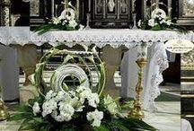 komunia / flower arrangements church first Communion