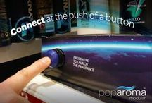 Poparoma / Poparoma - The Aroma Co patented scent sampling device. Pushing the button releases a waft of scented air. Use at point of purchase to allow consumers to sample the aroma of a product before purchase, or integrate into exhibition stands to create an interactive talking point.