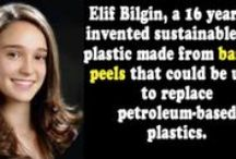 "Elif Bilgin Changing the Game / Meet the extraordinary 16-year-old inventor of bio-plastics made of bananas, Elif Bilgin. She won the Science in Action award 2013 facilitated by Google and took home 50,000 dollars of prize money. She inspired people to be more creative when it comes to saving the planet, and as proof of her success, she was given Google's ""Inspired Idea Award."" ""People should never give up on their goals. I didn't and I discovered something brand new.""  Elif Bilgin http://www.thextraordinary.org/elif-bilgin"