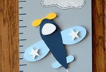 Airplane and helicopter nursery ideas / Theme: helicopters and aeroplanes with clouds Colours: blues, with white and red