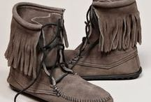 moccasins / Stylish and comfortable moccasins. Various tall and short moccasin styles in leather and suede and some fringe.