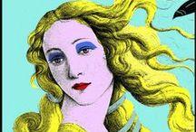 Postales de tributos artísticos / Tarea para Dibujo Artístico que consiste en interpretar  una obra de arte con el estilo de un artista totalmente distinto en época y en estilo pictórico