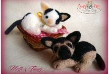 Tommy and Mafalda / A cute dog and a baby cat and their friends in felted wool!!!