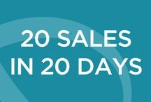 20 Sales in 20 Days / Beginning on October 12th, we will send you daily tips on how to make a sale that day (for 20 consecutive weekdays). Each day you can take action on the tips and make sales! The more action you take, the more results you will benefit from. Along the way be sure to document what works and what doesn't work for you. And best of all, win prizes!  www.flourishthriveacademy.com/20in20 / by Flourish & Thrive