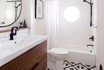 Deco salle de bain / Bois, pierre, carreaux de ciment...