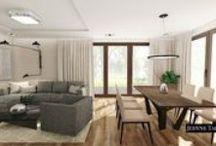Contemporary livingroom and kitchen interior design project / Nowoczesny i elegancki salon z kuchnią / Projekt wnętrz domu JedyneTakieWnętrza
