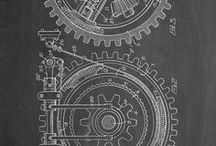VINTAGE Industrial Prints / industrial prints, vintage prints, steampunk prints, industrial decor, industrial paiting, rustic decor, vintage decor, wall art