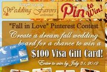Contest: Fall in Love Wedding Ideas / Enter the contest to win a $100 Visa Gift Card by creating your own Fall in Love #Wedding Ideas Pinterest board! Find out more contest details here: http://www.weddingfavorsunlimited.com/bridal_blog/ #fallweddings