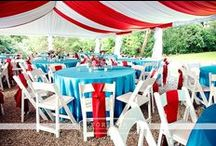 Theme: Carnival Weddings (Red - White - Turquoise Blue) / A carnival or circus theme is a whimsical and fun outdoor wedding choice.  We love the red, white and baby blue color scheme!
