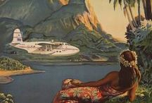 Vintage Travel Posters / A collection of vintage travel posters of Tahiti, Bora Bora, and other French Polynesian destinations.