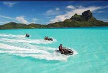 Bora Bora Water Activities / Collection of Bora Bora water activities: Jet skiing, wave runners, parasailing, snorkeling, fishing