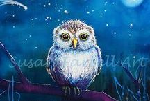 Owls by Susan Farrell Art / Just sharing my love of Owls. My journey painting them began a few years ago with Oscar my Shooting Star, My Muse, My Spirit Guide.