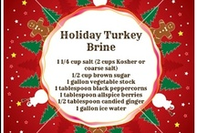 Brines / Brines are a salt water based solution with different ingredients you use to soak your turkey in for 24 hours before cooking it.  Pictures of brine ingredients and recipes of your favorite turkey brines are here!