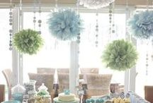 Hanging From The Ceiling and Trees / Look up and enjoy the view.  Whether you choose chinese lanterns, flowers or glass orbs, ceiling decorations are beautiful!