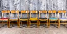 Stacking Chairs and Vintage Seating / We stock a range of stacking chairs in a variety of styles and colours, with large quantities available in most! These chairs are great for bars, restaurants or private use.