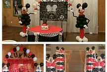 Mickey Party Balloon Decorations / Custom theme Balloon Centerpieces, Helium Balloon Centerpieces,  Red and black polkadot Classic Mickey party