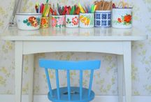 Kids Playroom / Children's art area inspirations, play room, furniture, tips and hacks. Kids writing and creative space.