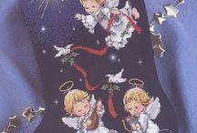 botas navideñas / Punto de cruz