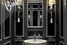 amazing bathrooms / Bathroom decor inspiration, remodelling ideas, luxurious bathroom style, black bathroom decoration, black and gold bathroom ideas, bathroom makeover.