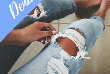 distressed denim / Denim fashion ideas for women: cool, trendy, casual, chic, daily wear, jeans, jackets, shirts, skirts, ripped jeans, distressed denim jeans.