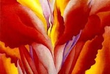 ART-O'KEEFE, GEORGIA / Georgia O'Keeffe (November 15, 1887 – March 6, 1986) was an prolific American artist known primarily for her bold, abstract,up-close floral paintings.  Also later for bone and mountain imagery. Highly influential painter. / by Lesa Steele