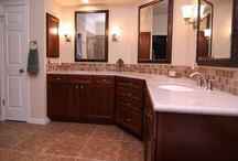 Bathrooms with Storage  / Here is a great example of customizing the bathroom remodel to fit the needs of our clients. There is lots of storage with custom cabinetry in this bathroom.