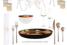 Dinner Party Collection / Alchemy Fine Home's Celebration Collections - 1-Click Tablescapes including the place settings & centerpiece decor. Showing you how to recreate the perfect dinner party settings at home.   www.alchemyfinehome.com