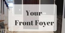 Foyers and Front Entrances l Small Foyers / When your belongings have a home, they're much more likely to be put away. And while there are many items that could be useful in small entryways, the following items are always helpful for keeping them organized, tidy, and looking good:  Wall hooks Baskets and bins Small desk, table, or bench Boot tray Coat rack Umbrella stand Mirror Bowl or dish for keys Tray or basket for mail