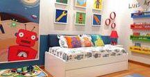 MyHomeDecor / Quero um quarto colorido, mas não poluído. Com objetos expostos para alegrar o ambiente, mas sem aquela visão de bagunça. Um lugar para ele brincar, assistir tv e descansar.