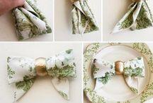 Servietter mm. / Lidt forskellig og serviet foldning