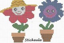 Fleur-flower-Plante-plant-point de croix-cross stitch / mes créations sur Blog : http://broderiemimie44.canalblog.com/ point de croix - cross stitch - broderie - embroidery