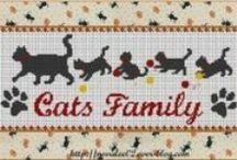 Chat-cat-point de croix-cross stitch / mes créations sur Blog : http://broderiemimie44.canalblog.com/ point de croix - cross stitch - broderie - embroidery