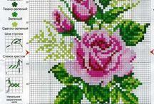 fleur-Roses-flower-point de croix-cross stitch / mes créations sur Blog : http://broderiemimie44.canalblog.com/ point de croix - cross stitch - broderie - embroidery