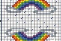 Soleil-sun-Pluie-rain-Arc en ciel-rainbow-point de croix-cross stich / mes créations sur Blog : http://broderiemimie44.canalblog.com/ point de croix - cross stitch - broderie - embroidery