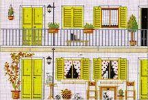 Maison-house-welcome-bienvenue-point de croix-cross stitch / mes créations sur Blog : http://broderiemimie44.canalblog.com/ point de croix - cross stitch - broderie - embroidery