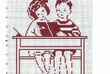 Enfant-child-point de croix-cross stitch / mes créations sur Blog : http://broderiemimie44.canalblog.com/ point de croix - cross stitch - broderie - embroidery