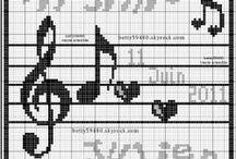 Musique-Danse-dancing-music-Point de croix-cross stitch / mes créations sur Blog : http://broderiemimie44.canalblog.com/ point de croix - cross stitch - broderie - embroidery