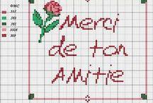 Amitié-friendship-thank you-Merci-point de croix-cross stitch / mes créations sur Blog : http://broderiemimie44.canalblog.com/ point de croix - cross stitch - broderie - embroidery